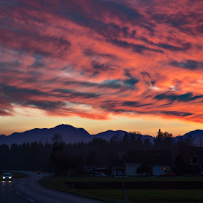Christmas sky by Dominik Konjedic - Landscapes Cloud Formations ( hills, sky, kranj, sunset, slovenia, christmas, cloud, road )
