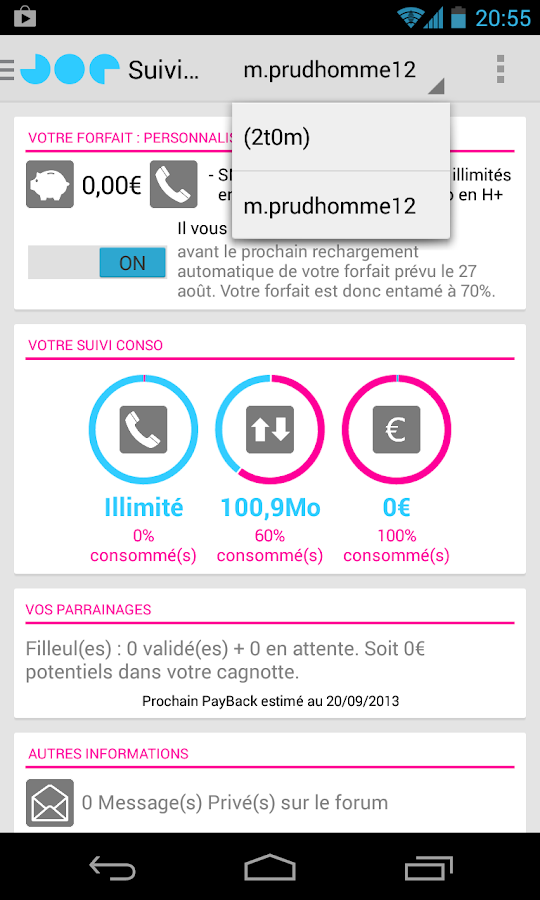 Joe Mobile | Suivi Conso - screenshot