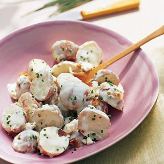Red Bliss Potato Salad with Blue Cheese, Bacon, and Chives.