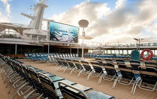 Splendour-of-the-Seas-Outdoor-Screen - Hang out poolside and watch family-friendly movies on Splendour of the Seas' 220-square foot outdoor screen.
