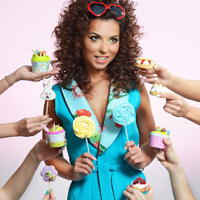 Options by Costi Manolache - People Fashion ( googles, muffins, cyan, lollipop, pretty girl, colors, cookies )