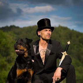 Gentlemen by Manuela Kägi - People Portraits of Men ( gentlemen, dog, man, sword )