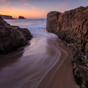 Panther at sun up by Paul Judy - Landscapes Beaches ( panther beach, california, pacific, santa cruz, rocks, landscape, beach )