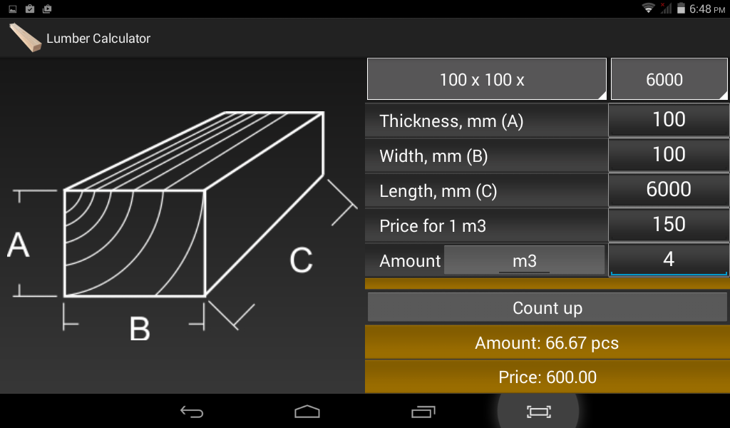 Calculator lumber timber android apps on google play for Lumber calculator for house