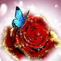 Blue Butterfly On Glitter Rose icon
