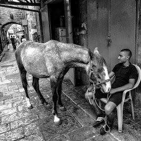 A sweet moment shared.... by Ethan Fox Miles - Black & White Street & Candid (  )
