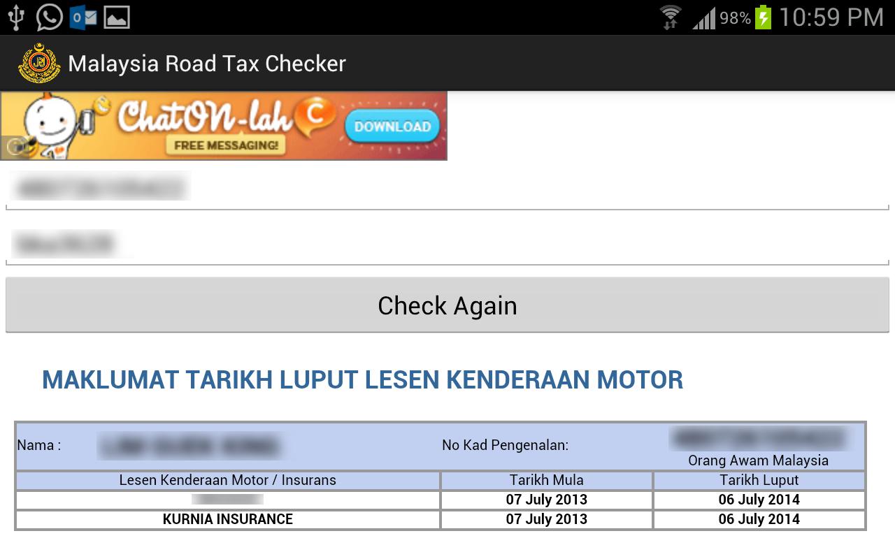 Malaysia Road Tax Checker -