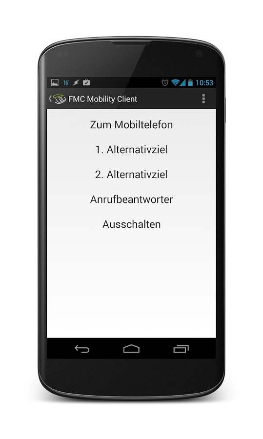 FMC Mobility Client- screenshot