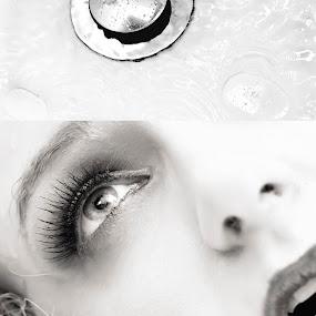 Dead Girl Editorial by Kelly Kooper - Black & White Portraits & People ( water, plug, bath, bathroom, dead, frozen,  )