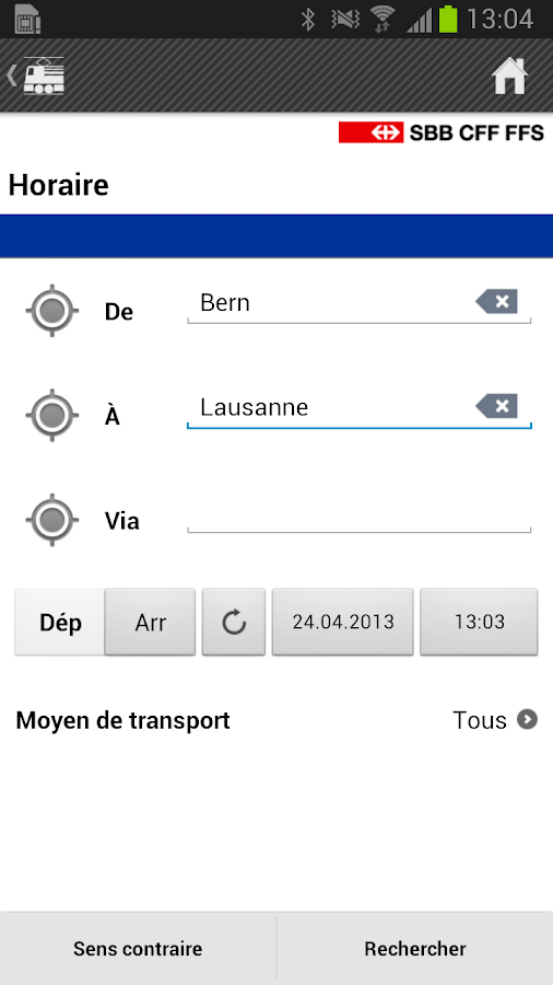Mobile CFF - screenshot