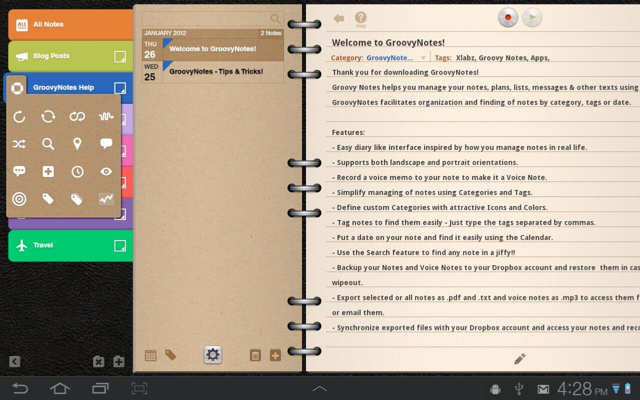Groovy Notes for Tablets - screenshot
