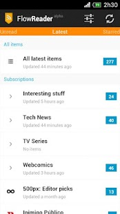 Flow Reader (Google Reader) - screenshot thumbnail