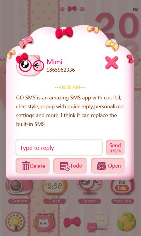 GO SMS PRO PINKYCAT THEME - screenshot
