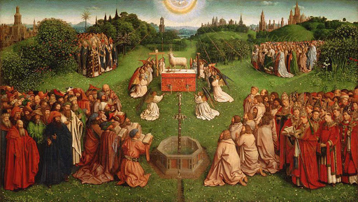"""""""Adoration of the Mystic Lamb"""" (c. 1430-1432), panel painting that is part of the Ghent Altarpiece by Jan van Eyck in Saint Bavo Cathedral, Ghent, Belgium."""