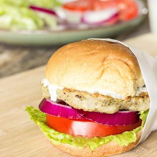 Chicken Gyro Burgers with Tzatziki Sauce.