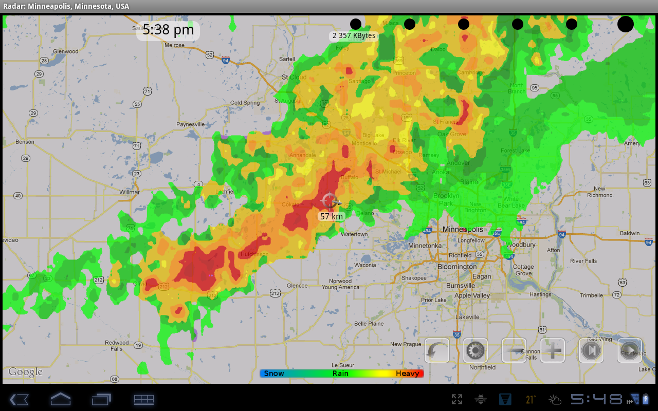 eRadar HD and weather alerts - screenshot