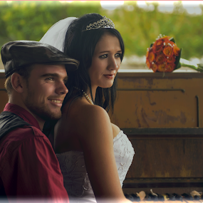 Love and Music by Richard Wicht - Wedding Bride & Groom ( love, wedding, couple, pretty, people )