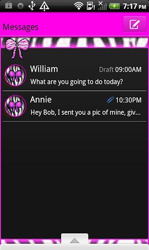 GO SMS THEME PinkZebraBow1