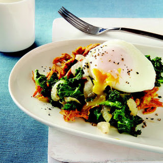 Curried Sweet Potato Waffles with Coconut-Braised Kale & Poached Eggs