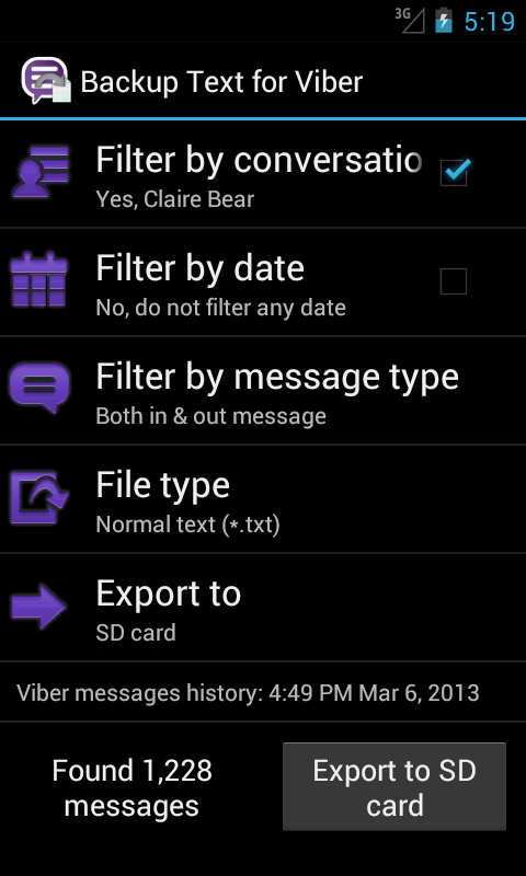 Backup Text for Viber - screenshot