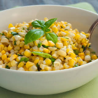 Fresh Corn Salad with Scallions and Basil.