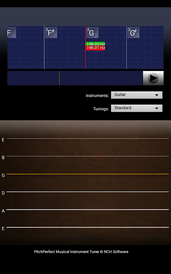 PitchPerfect Guitar Tuner Free – Screenshot