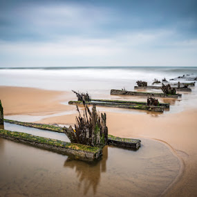 What Once Was by Liam Robson - Landscapes Beaches ( hartlepool, railway, pier, beach, steetly )