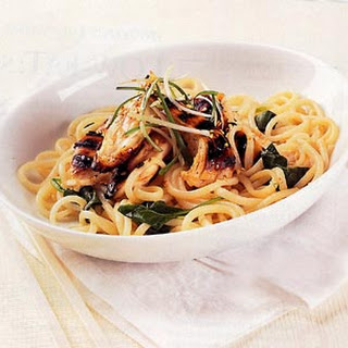 Chilled Udon with Sweet-and-Spicy Chicken and Spinach.