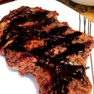 Cracked Pepper Rib Eye with a Balsamic Reduction