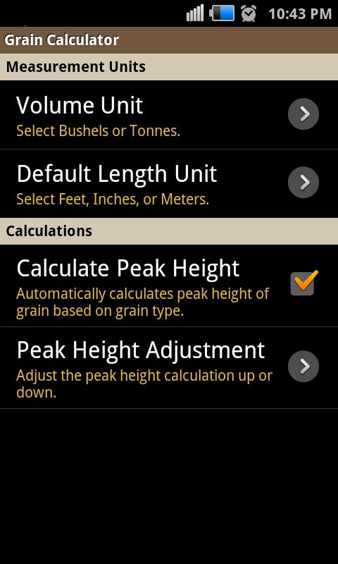 Grain Calculator - screenshot