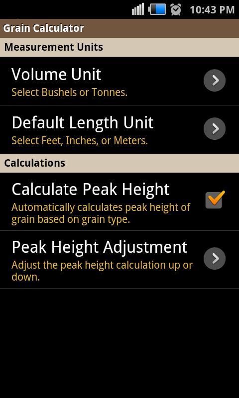 Grain Calculator - screenshot