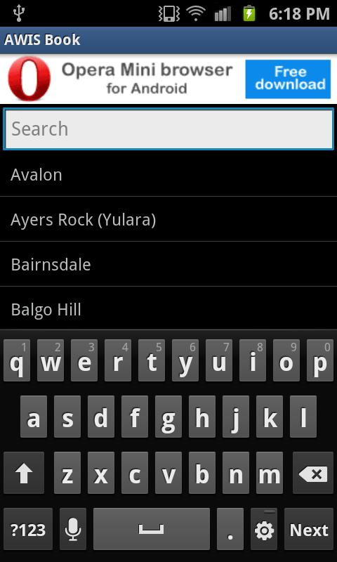 AWIS Phonebook - screenshot