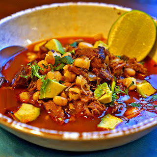 Homemade Posole Rojo with Pork.
