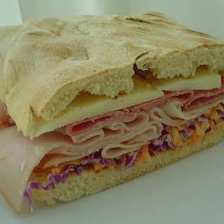 Ciabatta Cold Cut Sandwich with Coleslaw.
