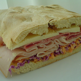 Ciabatta Cold Cut Sandwich with Coleslaw.