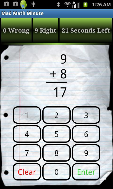 Mad Math Minute - screenshot