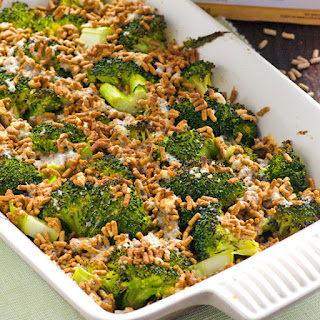 Broccoli Gratin with Crunchy Bran Topping
