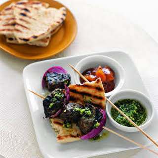 Indian-Style Beef Kebabs with Cilantro Sauce.