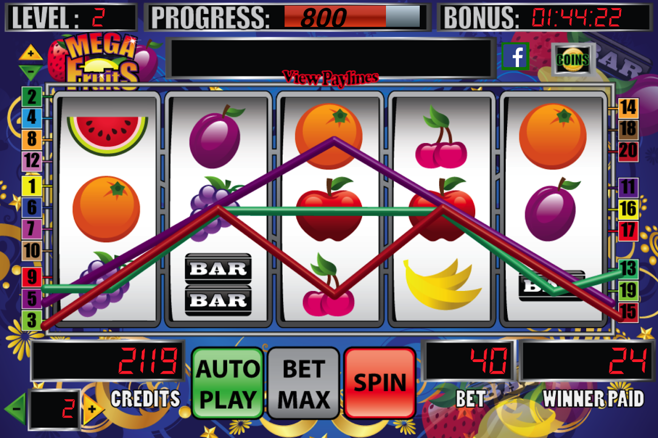 Mega Fruits Slot Machine- screenshot