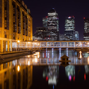 Canary Wharf at night by Augustin Galatanu - City,  Street & Park  Night ( pure, skyline, london, canary wharf, sunset, reflections, business, , city at night, street at night, park at night, nightlife, night life, nighttime in the city )