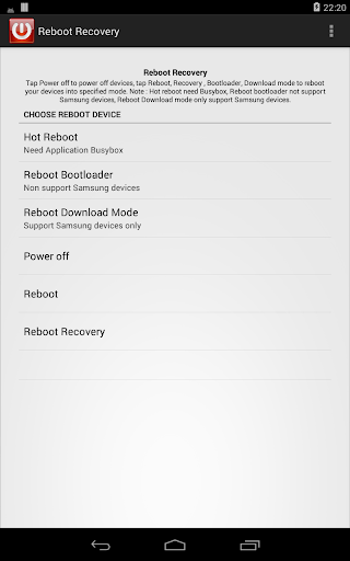 Reboot recovery root