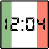 Flag LCD Clock Widget Italy