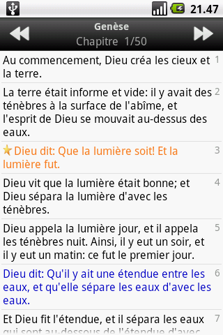 La Sainte Bible, Louis Segond - screenshot