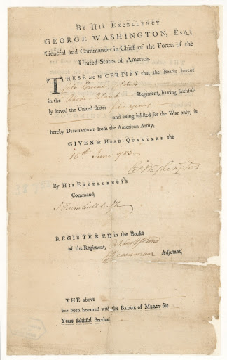 Discharge Certificate for Private Cato Greene from Military Service, Rhode Island