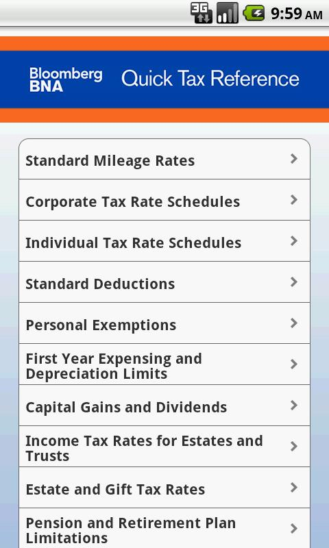 BNA Quick Tax Reference - screenshot