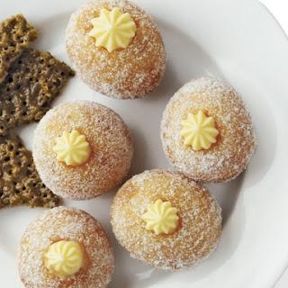 Lemon Cream Bomboloni with Rhubarb Chutney and Pistachio Florentines
