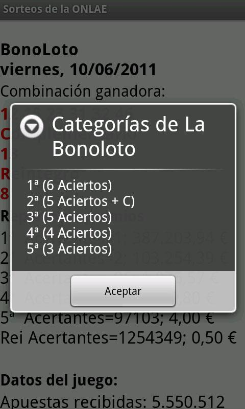 Sorteos de la ONLAE - screenshot