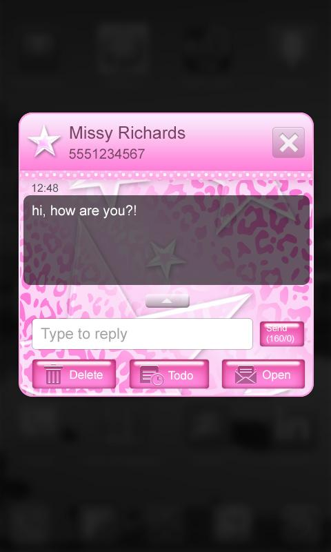 Pink Leopard Go SMS Star Theme - screenshot