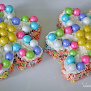 Fruity Marshmallow Rice Flower Treats Featuring Sixlets #Glutenfree