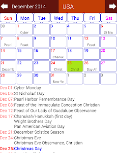 Holiday Calendar Free - screenshot thumbnail